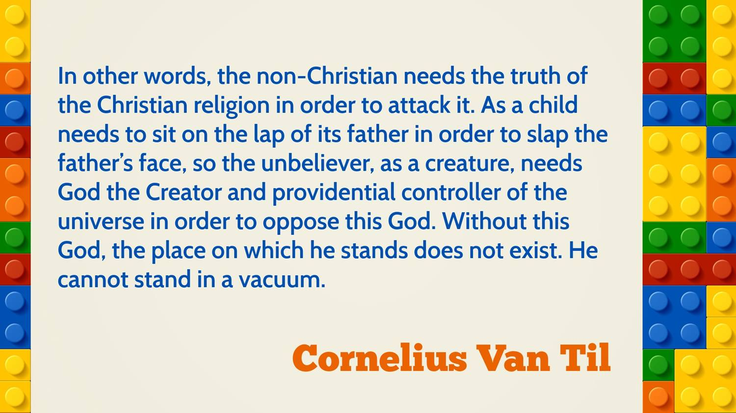 van til antithesis Van til sometimes extended his antithesis language to non-reformed believers: illegitimately in my opinion reformed believers have no fundamentals in common with stuart hackett e j carnell's apologetic method requires the destruction of christianity and leads to the rejection of the whole body of his christian beliefs.